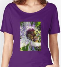 Close Up Of  Passion Flower with Honey Bee Women's Relaxed Fit T-Shirt