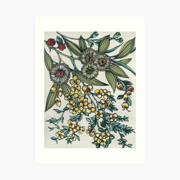 Retro Australian Native Floral Art Print