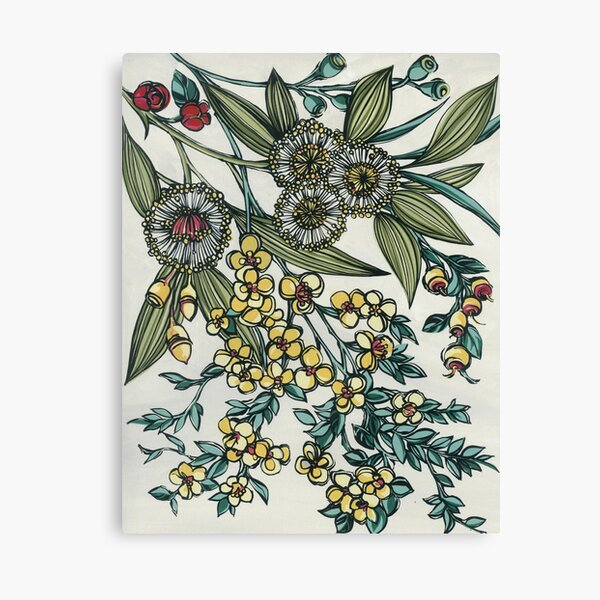 Retro Australian Native Floral Canvas Print