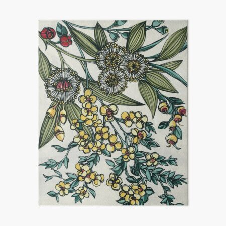 Retro Australian Native Floral Art Board Print
