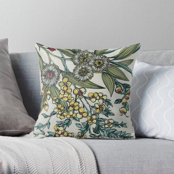 Retro Australian Native Floral Throw Pillow