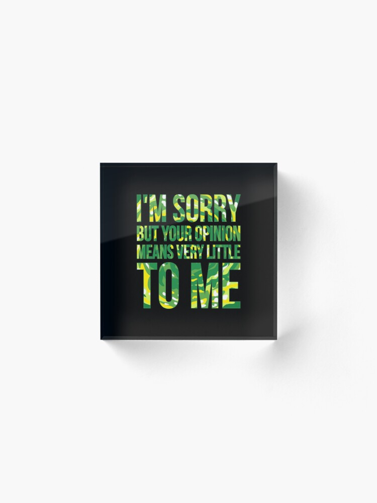 Alternate view of im sorry but your opinion means very little to me Acrylic Block