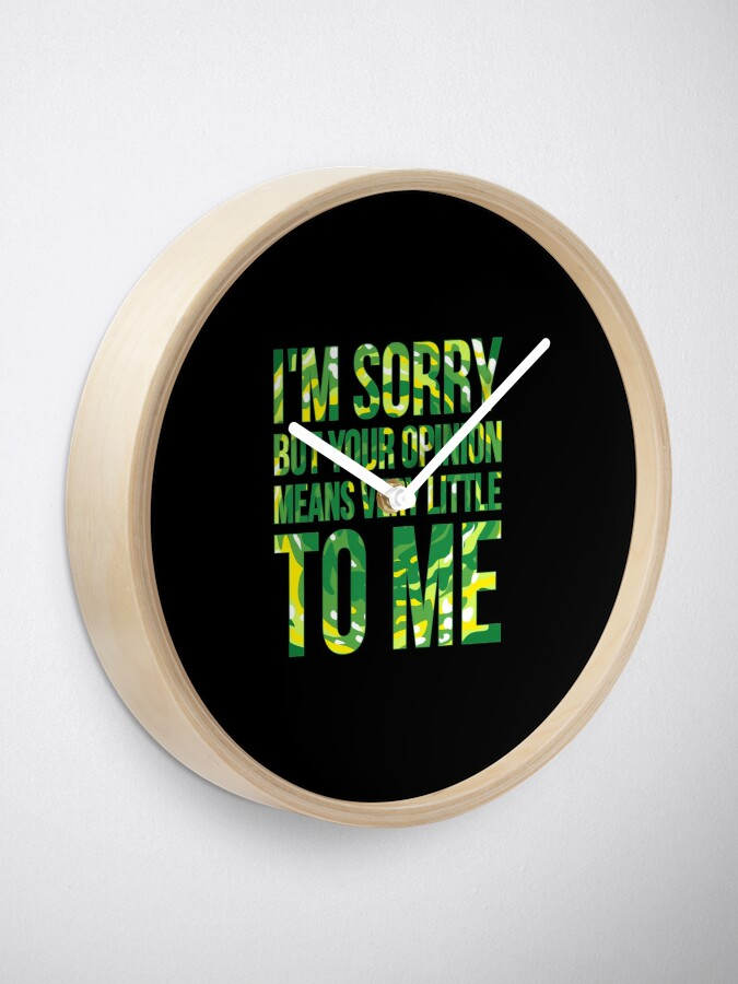 Alternate view of im sorry but your opinion means very little to me Clock