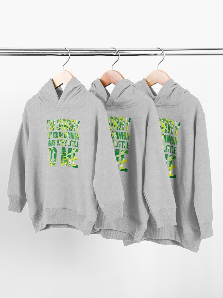 Alternate view of im sorry but your opinion means very little to me Toddler Pullover Hoodie