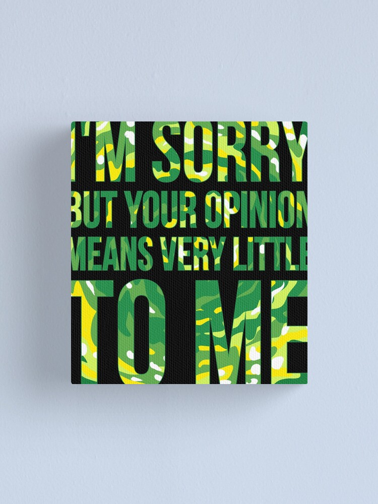 Alternate view of im sorry but your opinion means very little to me Canvas Print
