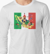 Cinco de Mayo with Mexican Flag Long Sleeve T-Shirt