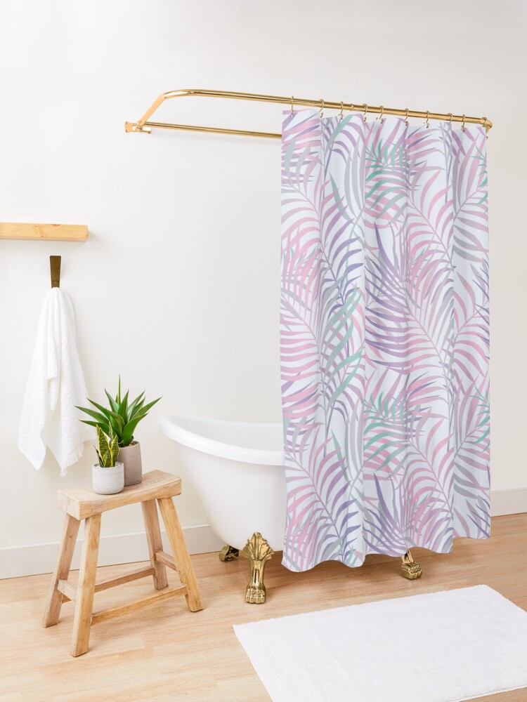 Alternate view of Tropical Paradise (Palm Leaves Pattern) Shower Curtain