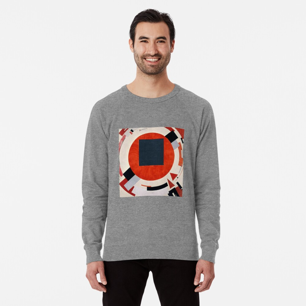 Lissitzky's Proun, ssrco,lightweight_sweatshirt,mens,heather_grey_lightweight_raglan_sweatshirt,front,square_three_quarter,x1000-bg,f8f8f8