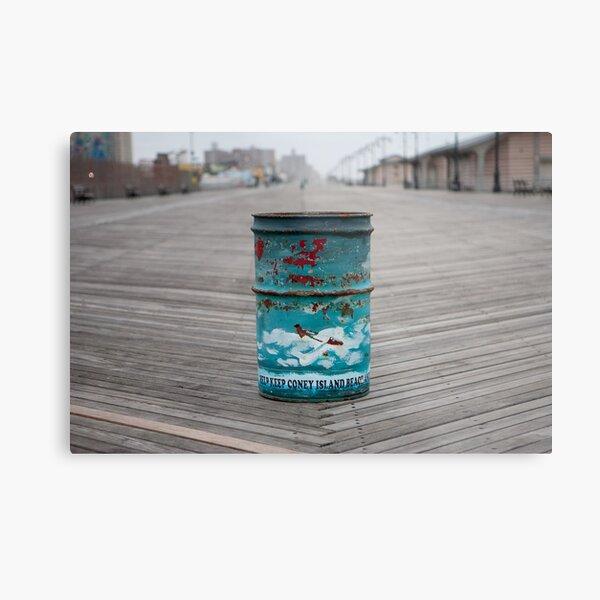 Coney Island Trash Can Metal Print