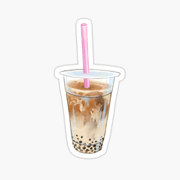 Watercolor Jasmine Milk Tea Boba Sticker