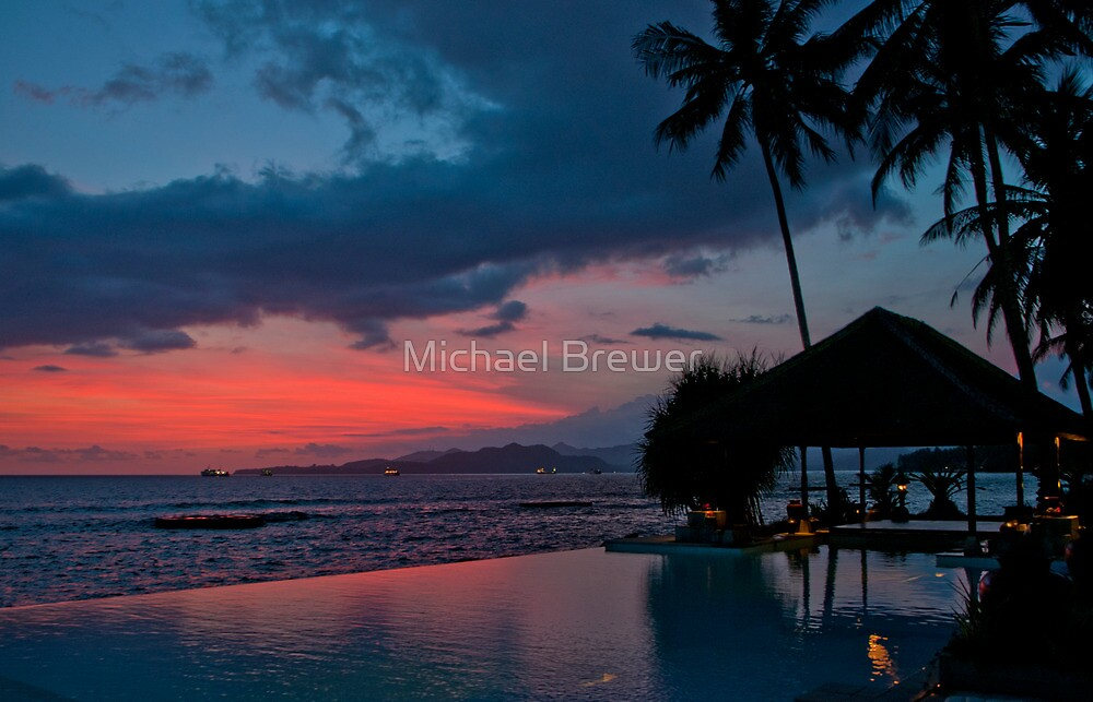 Sunset at Lotus Cottages, Bali by Michael Brewer
