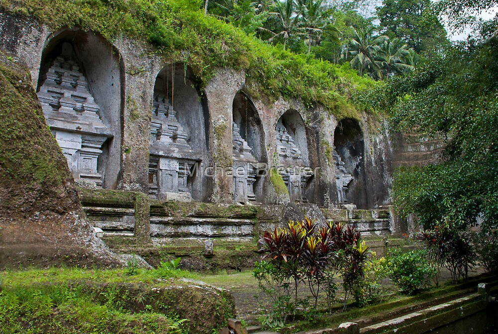 Ancient stone-hewn Hindu altars Gunung Kawi, Gianyar Regency, Bali, Indonesia by Michael Brewer