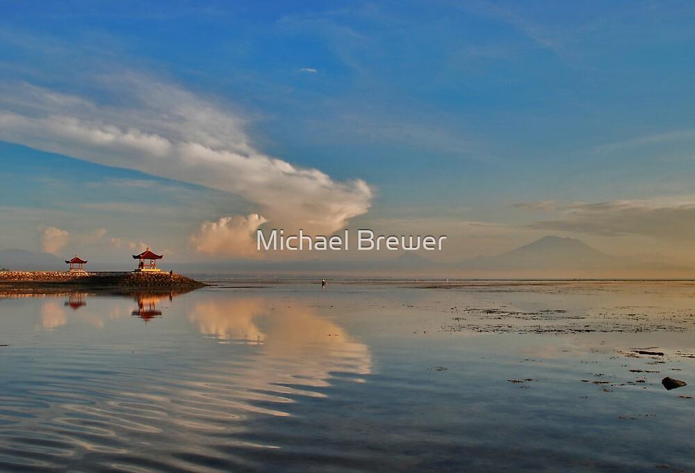Sanur pagodas and Agung at dawn by Michael Brewer
