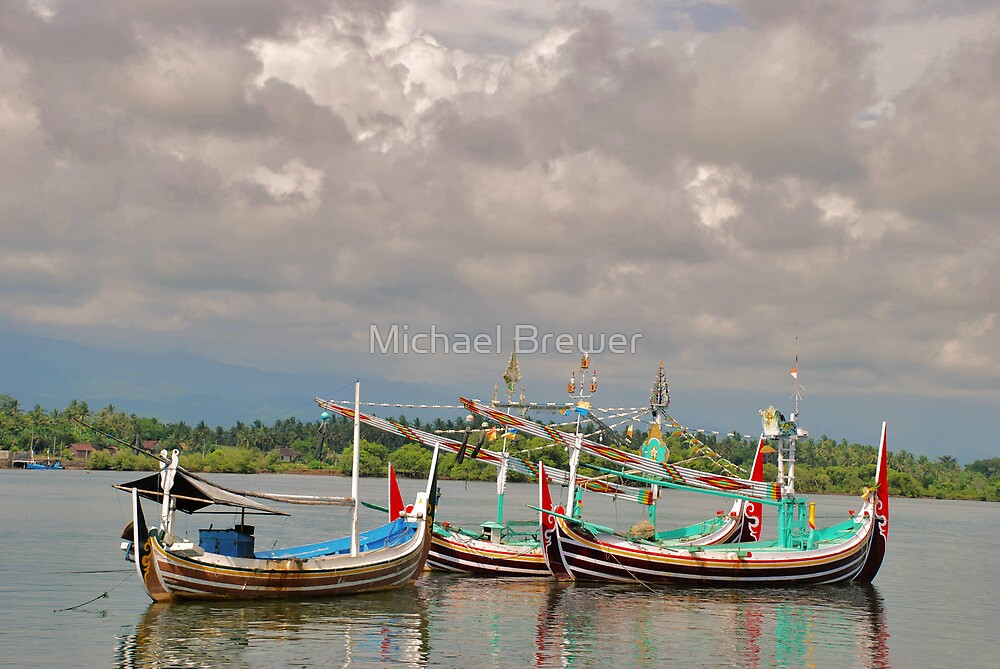 Three boats in the river at Perancak by Michael Brewer