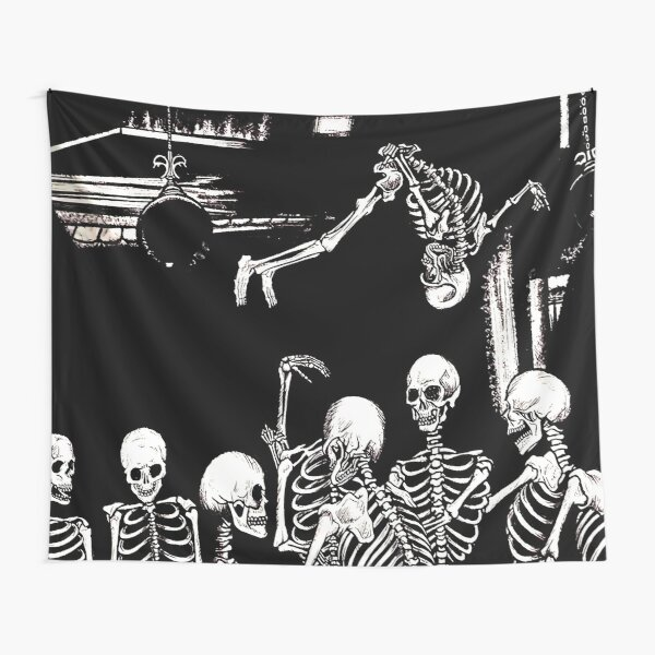 Skeleton Die Lit Tapestry