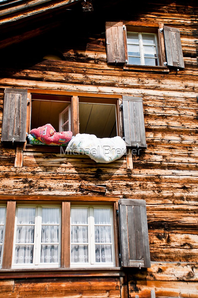 Airing the duvets in Golzern by Michael Brewer