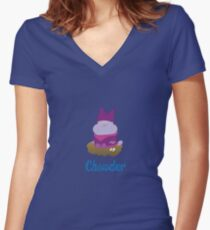 Chowder and Kenji Women's Fitted V-Neck T-Shirt