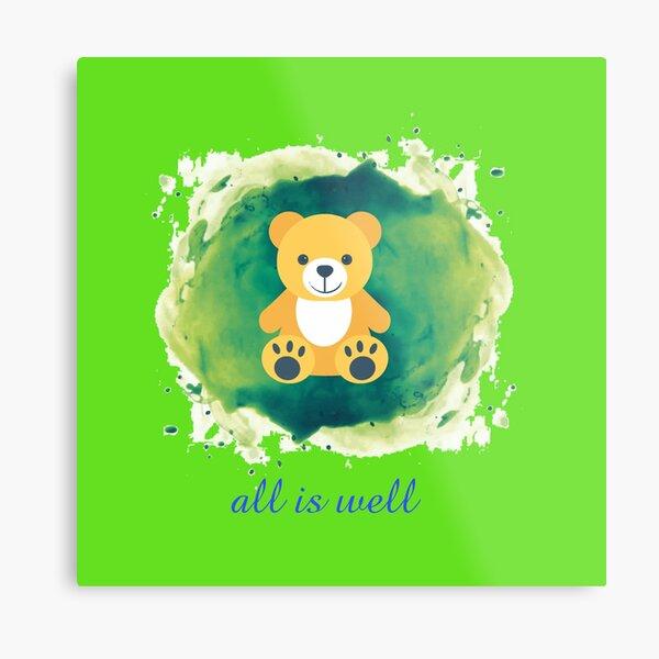Teddy bear logo designing all is well. Metal Print