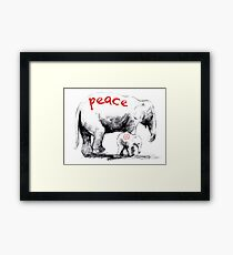 Peace Elephant Mum and Babe Framed Print