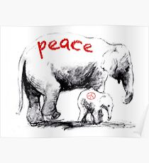 Peace Elephant Mum and Babe Poster
