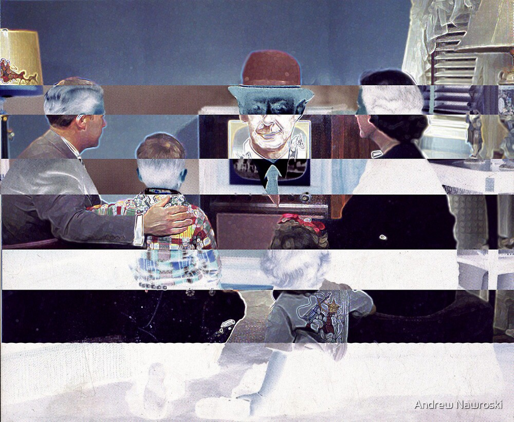 Family Watching 3D TV. by Andrew Nawroski