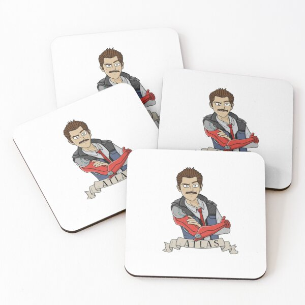 Atlas Rhys with mustache Coasters (Set of 4)