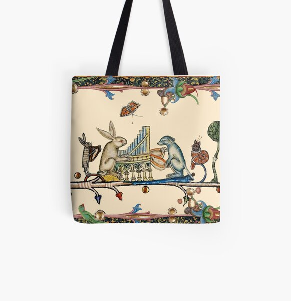 WEIRD MEDIEVAL BESTIARY MAKING MUSIC,White Rabbit And Dog Playing Organ, Harpist Hare, Snail Cat All Over Print Tote Bag