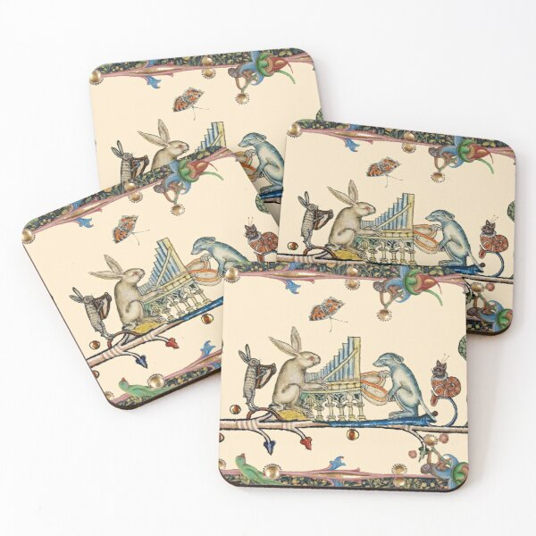 WEIRD MEDIEVAL BESTIARY MAKING MUSIC,White Rabbit And Dog Playing Organ, Harpist Hare, Snail Cat Coasters (Set of 4)