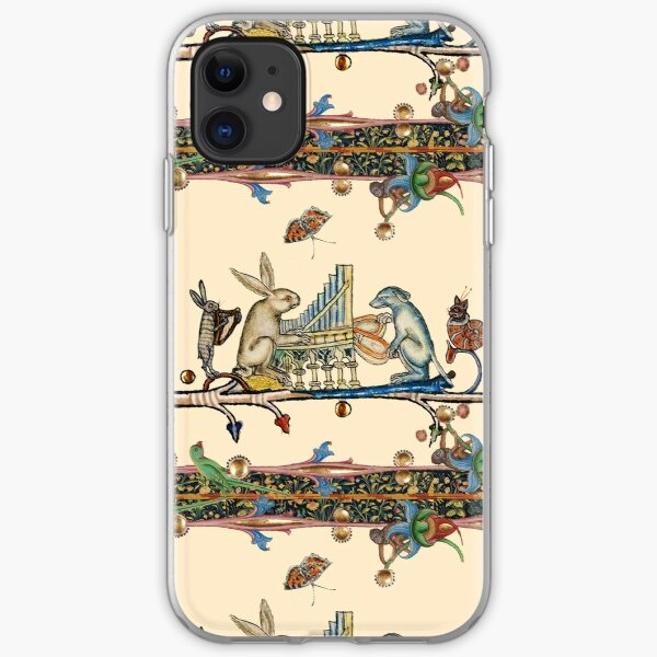 WEIRD MEDIEVAL BESTIARY MAKING MUSIC,White Rabbit And Dog Playing Organ, Harpist Hare, Snail Cat iPhone Soft Case