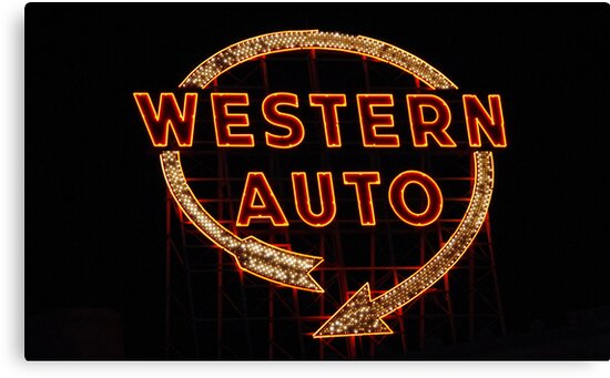 Western Auto Sign Kansas City Mo Canvas Prints By Kenelamb