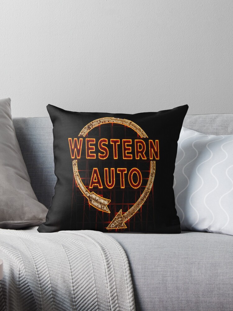 Western Auto Sign Kansas City Mo Throw Pillows By Kenelamb