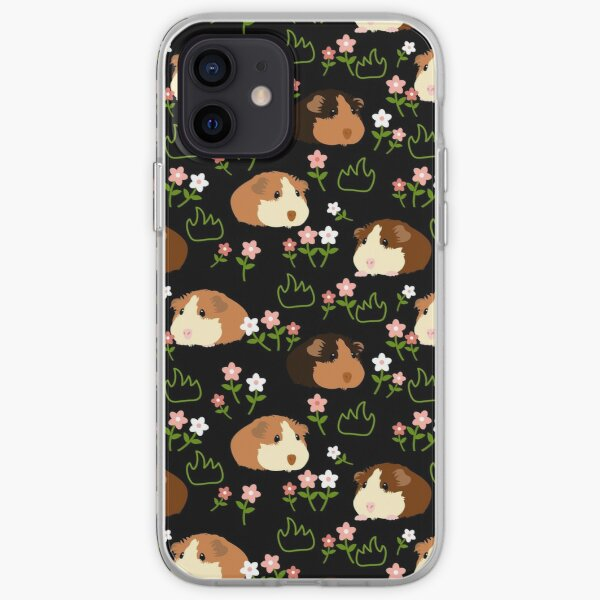 Guinea Pig and Flowers - Black iPhone Soft Case