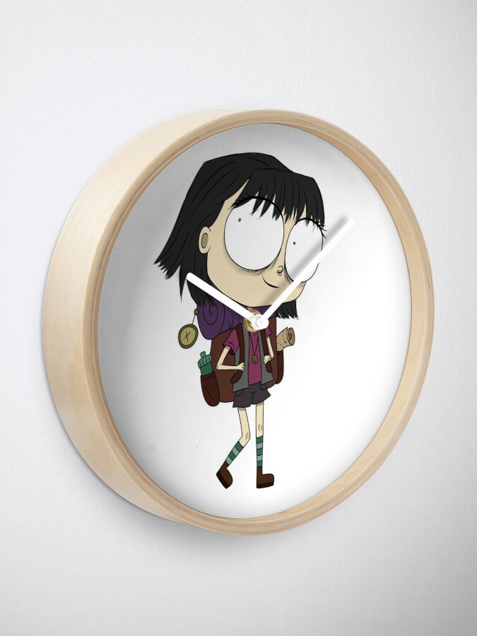 Alternate view of Hiker Girl with a Backpack and Camping Gear Ready for the Mountains Clock