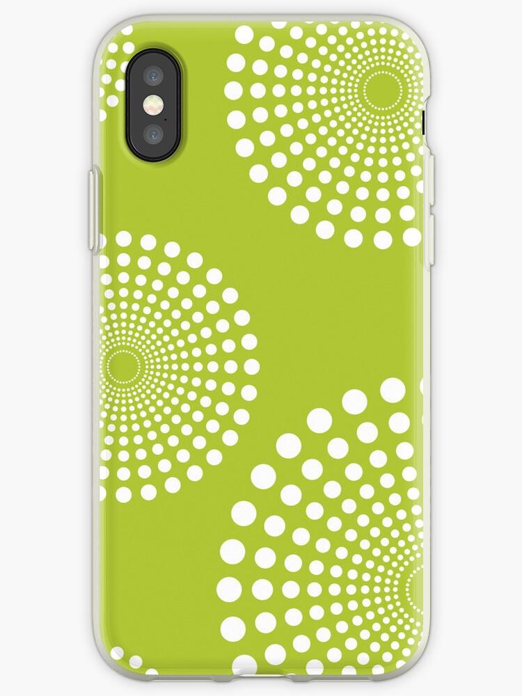 circular spots - lime green + white by Kat Massard