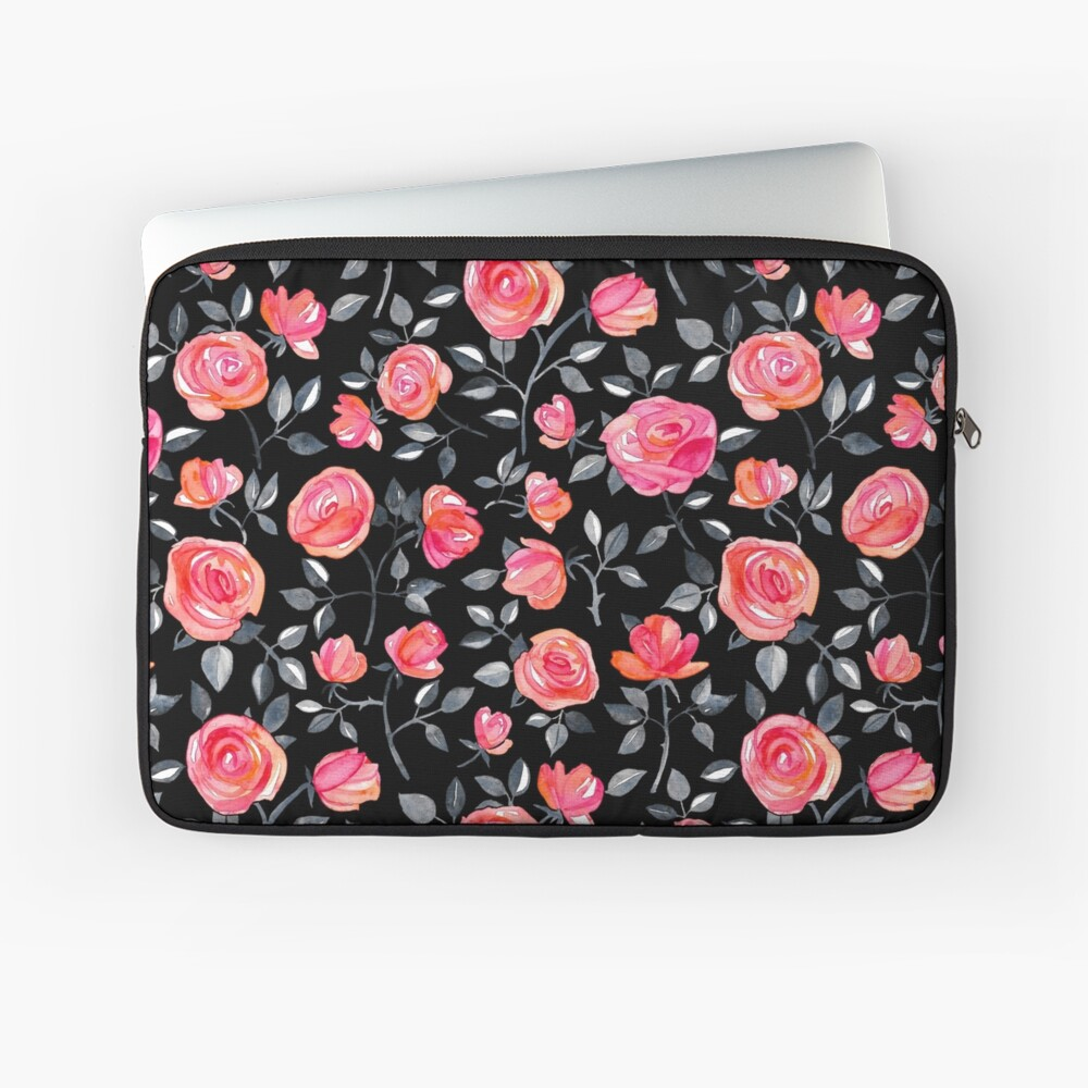 Roses on Black - a watercolor floral pattern Laptop Sleeve