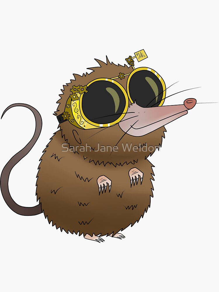 Cute Steampunk Shrew Animal with Glasses by SarahRowsSolo