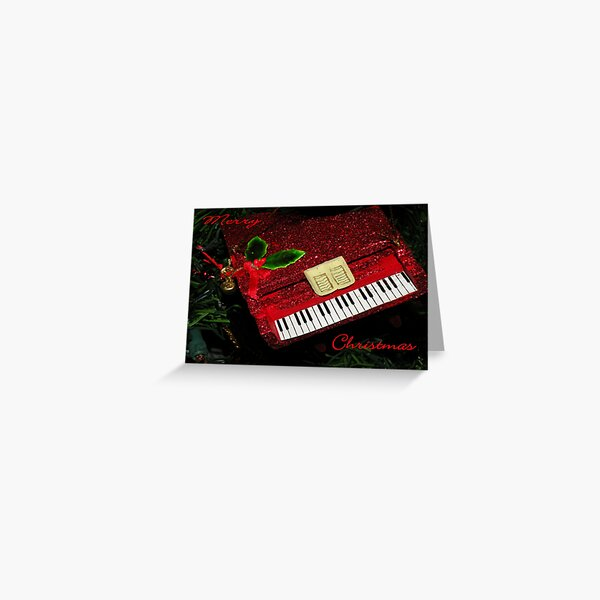 Christmas Card, Red Piano Greeting Card