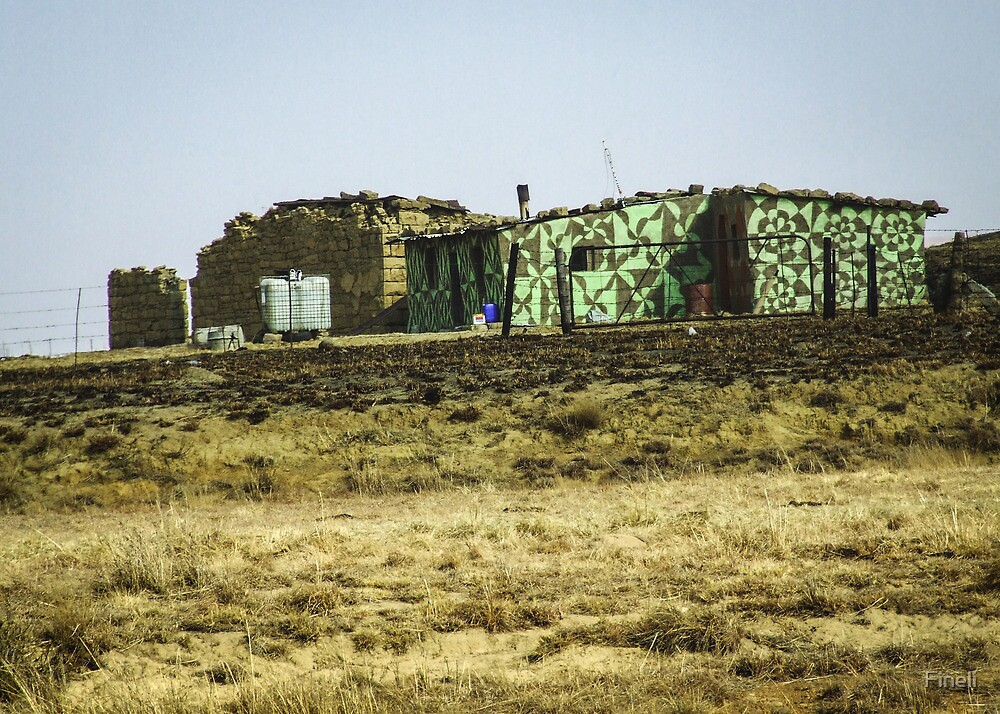 Traditional Basotho decoration on present day huts. Harrismith, Free State, South Africa. by Fineli