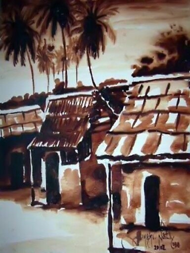 African Oil Painting: African Village by afrikboutik