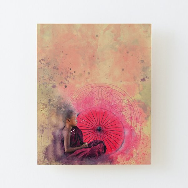 Blume des Lebens Meditation Buddha Aufgezogener Druck auf Holz