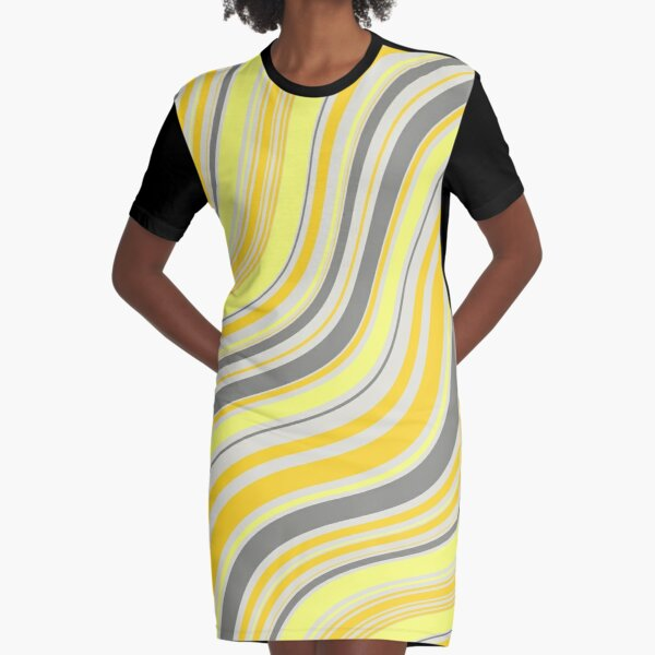 yellow waves Graphic T-Shirt Dress