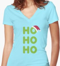 Ho-Ho-Ho Santa Women's Fitted V-Neck T-Shirt
