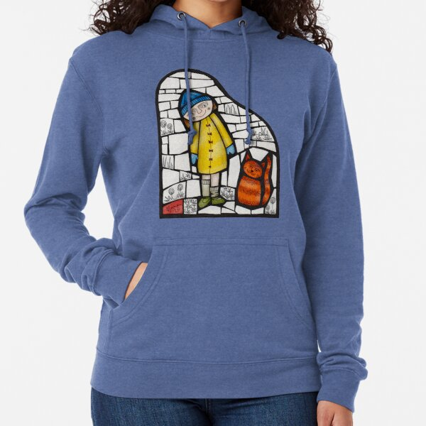 Girl and her cat colour mosaic illustration Lightweight Hoodie