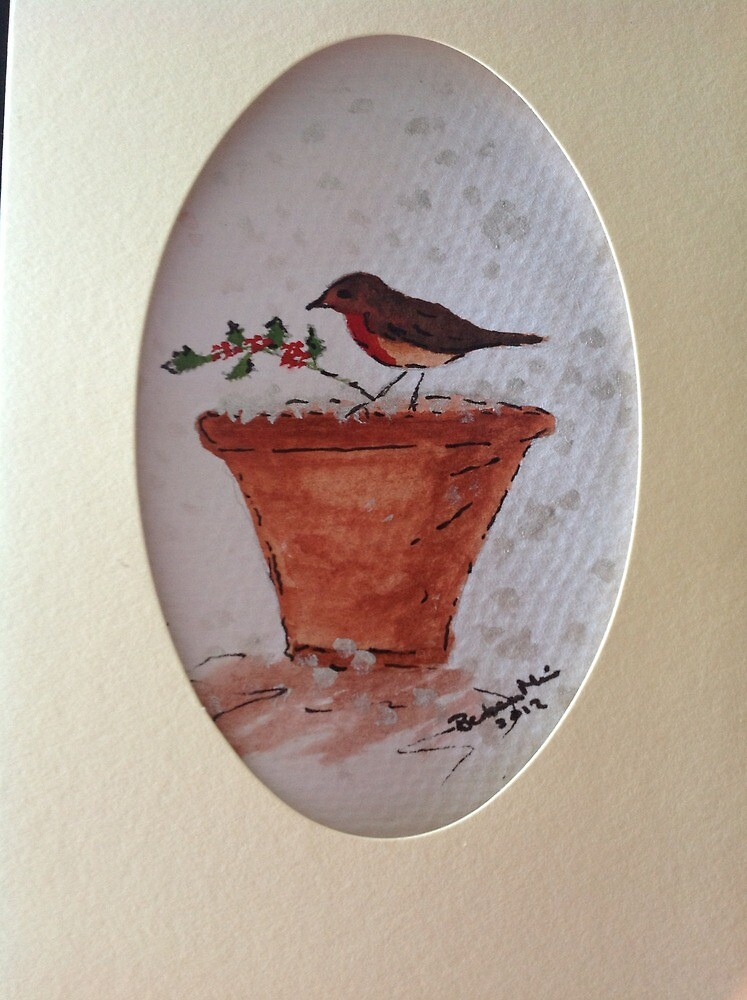 Robin Christmas card by barbaramine