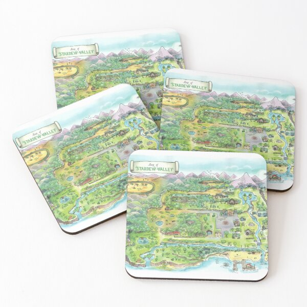 Stardew Valley Map Poster Coasters (Set of 4)