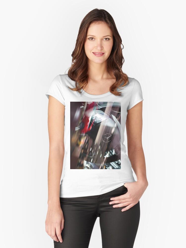 Mercedes-Benz Steering Wheel [ Print & iPad / iPod / iPhone Case ] Women's Fitted Scoop T-Shirt Front