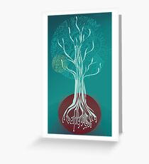 Teal Tree Greeting Card