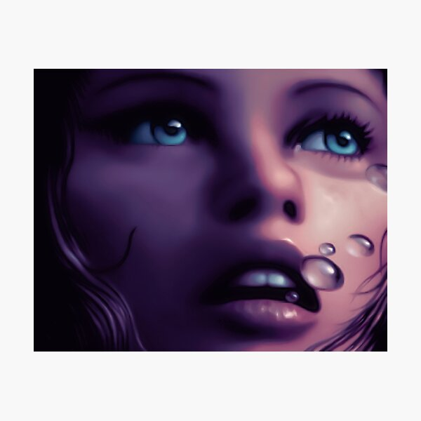 Girl breathing underwater, Retro Commodore Amiga Art Photographic Print