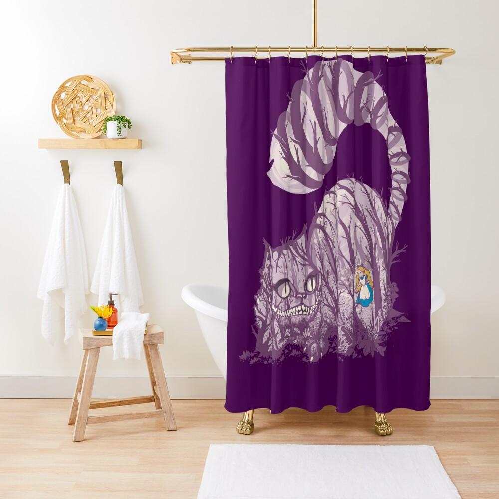 Inside wonderland (cheshire cat) Shower Curtain