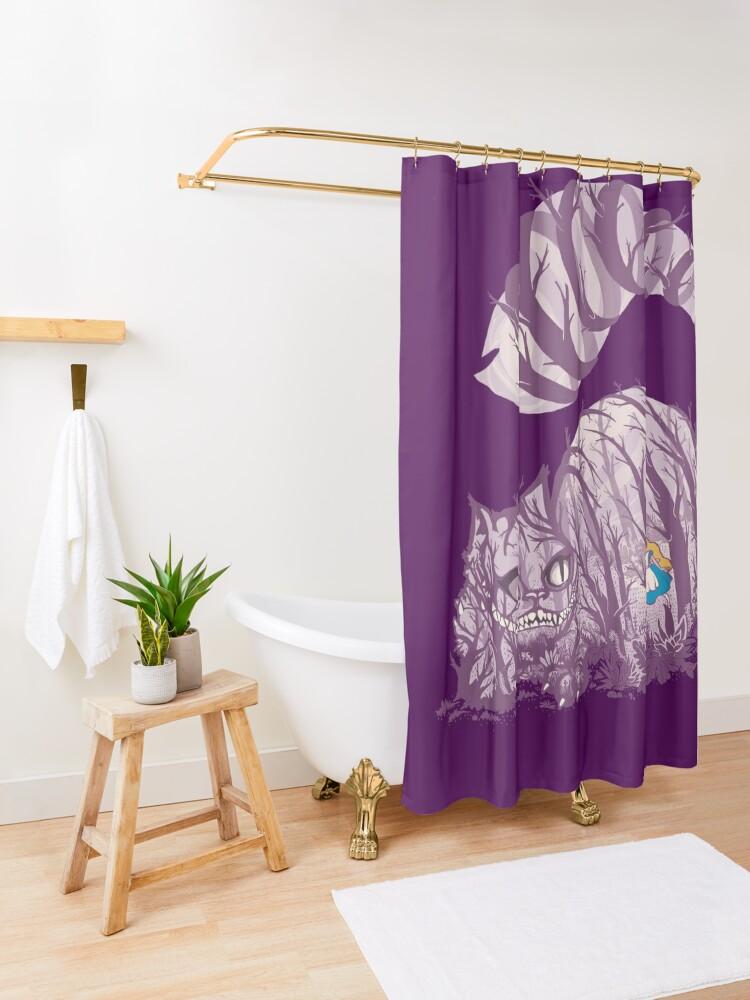 Alternate view of Inside wonderland (cheshire cat) Shower Curtain